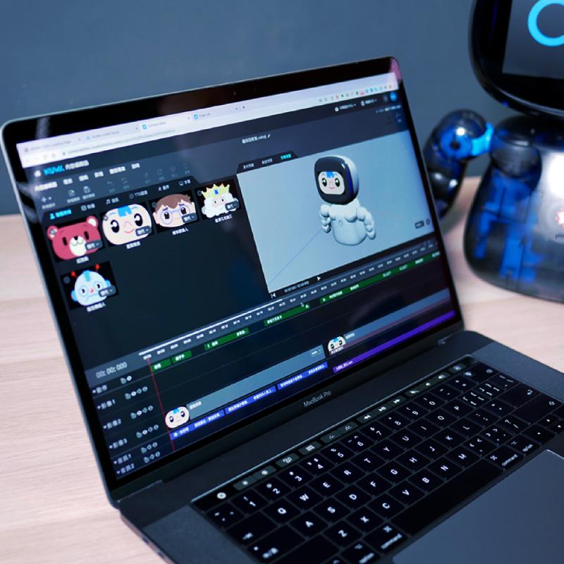 Kebbi Air S – Robot Creator 機器人組裝套件 Content Editor 內容編輯器 懂基礎剪接,就能做出最細膩的機器人展演 如同影片剪輯軟體般容易上手的編輯器,提供超過 350 個動態表情素材、500 個動作素材,可以快速創作各式各樣細緻生動的機器人演出!